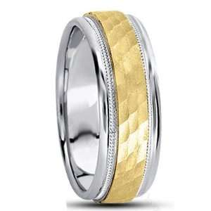 SE598 8.0 Millimeters White Yellow White Two Tone Gold Wedding Band