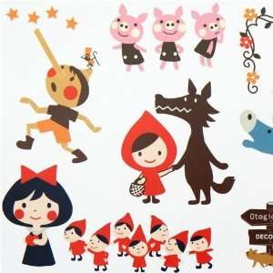 cute fairy tale wall sticker Little Red Riding Hood Toys & Games