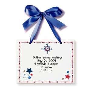 Birth Certificate Hand Painted Tile   Red White & Blue