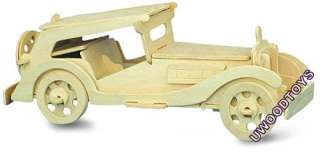 LARGE MGTC VINTAGE CAR MODEL KIT _U WOOD WOODEN TOYS