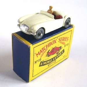 MATCHBOX MOKO LESNEY 19b MG MGA SPORTS CAR, 1958, RARE