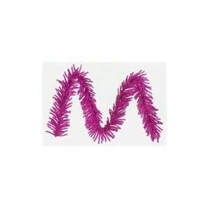 10 Sparkling Fuschia Tinsel Artificial Christmas Garland