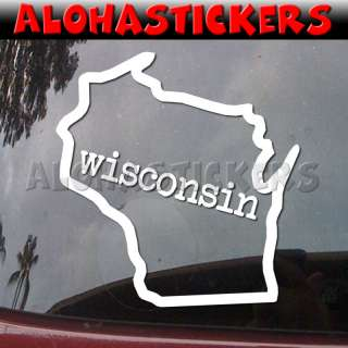 WISCONSIN STATE OUTLINE Vinyl Decal Window Sticker Q77