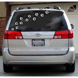 com 12 WHITE PAW PRINTS 3 Vinyl STICKERS / DECALS (DOGS,ANIMALS,WALL
