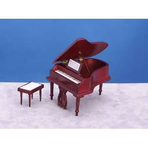 Square Miniatures Dollhouse Baby Grand Piano with Bench Toys & Games