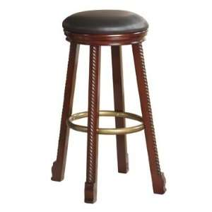 Bar Stool with Black Faux Leather Seat   2 Pieces