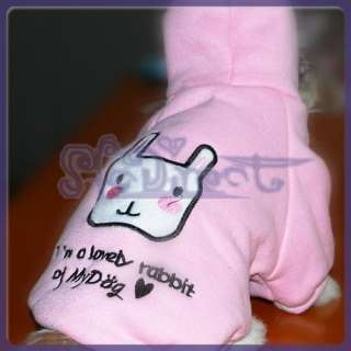 Pink Pet Dog Hoodie Shirt Coat Clothes Apparel CUTE NEW