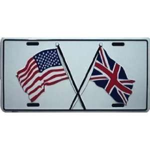 Union Jack Uk England/Usa Friendship Flag Metal License Plate Auto Car