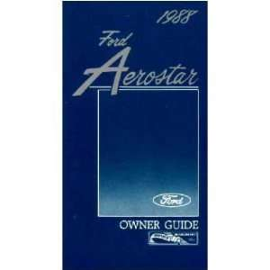 1988 FORD AEROSTAR VAN Owners Manual User Guide