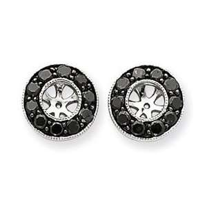 14k White Gold Black Diamond Earring Jackets Jewelry