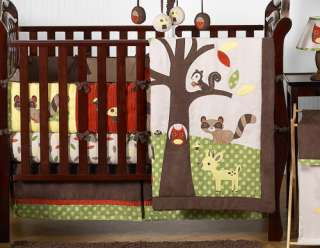 OWL DEER TREE FOREST THEMED BABY BEDDING 9p BOY CRIB SET NEUTRAL ROOM