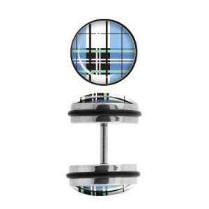 316L Surgical Steel   Aqua Plaid Design  Fake Plugs   16g
