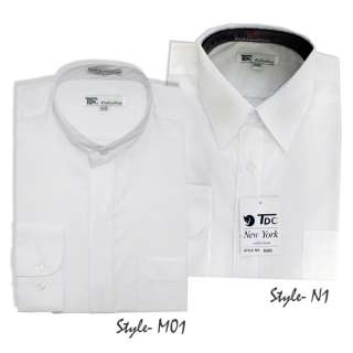 Mens Tdc Collection Pointed / Mandarin Collar White Dress Shirt All
