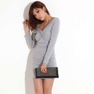 FASHION ON MOON SEXY V NECK LONG SLEEVES SLIM FIT PARTY COCKTAIL DRESS