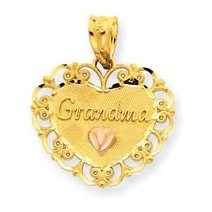 14k Two tone Gold Grandma Heart Charm Pendant Jewelry