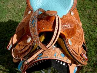 16 WESTERN LEATHER BARREL SHOW PLEASURE SADDLE SET TURQUOISE OSTRICH