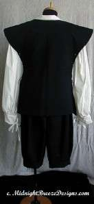 Mens Renaissance Costume Set   Jerkin, Shirt, Breeches   custom