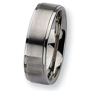 Chisel Ridged Edge Brushed and Polished Stainless Steel Ring (7.0 mm