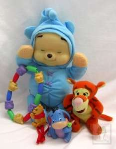 Winnie Pooh Lot Dream Glow Tigger Rattle Pacifier Holder Ring Eeyore