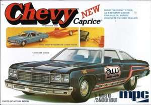 MPC CHEVY NEW CAPRICE   STOCK CHEVY WT TILT BED TRAILER AND CAR HAULER