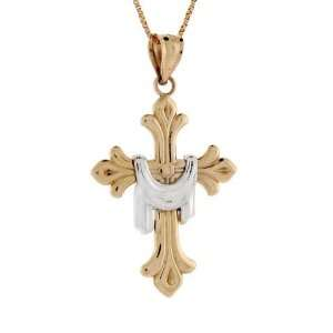 14k Two tone Gold Cross With Shroud Religious Pendant Jewelry