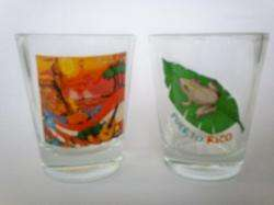 Puerto Rico Coqui Shot Glass Cup Holder & 2 Shot Glass Cup Souvenirs