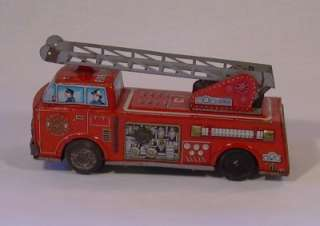 Vintage Tin Litho Battery Fire Engine Truck SH Japan