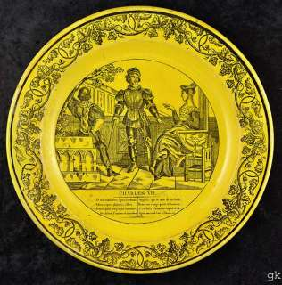 Antique Yellow Creil French Decorative Plate 1800s
