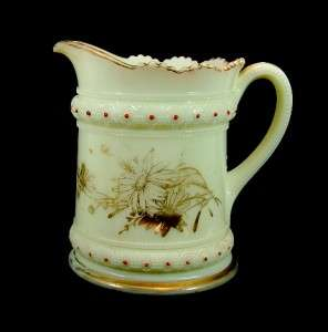 c1900 Heisey Custard Glass Ring Band Water Set Pitcher
