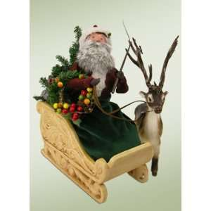 Byers Choice Carolers   Santa in Sleigh with Caribou