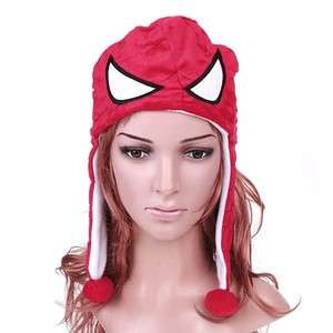 Red Fuzzy Plush Multifunctional Soft Warm Cartoon Spider man Hat Cap