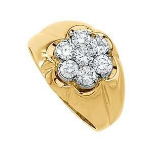14K Yellow Gold Diamond Cluster Ring Jewelry