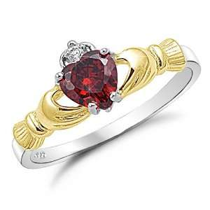Silver Two Tone Gold Plated Ruby Red CZ Claddagh Ring Size 4 Jewelry