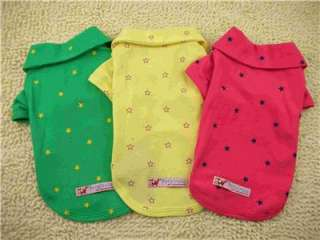 Colors Cotton Pet Dog Apparel POLO Clothes Shining Stars Shirt Size