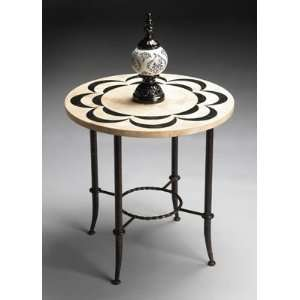 Butler Black and White Fossil Stone Top Accent Table