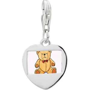 925 Sterling Silver Teddy Bear Red Bow Photo Heart Frame