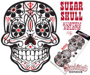 DAY OF THE DEAD SUGAR SKULL 2 COLOR PINSTRIPE DECAL ART