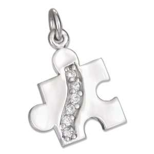 High Polish Pave Cubic Zirconia Autism Puzzle Piece Charm Jewelry
