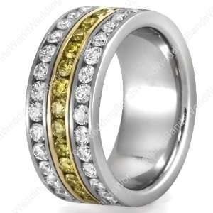 Two Tone Diamond Wedding Ring, Platinum, 1.60 Carat Diamond, 0.80
