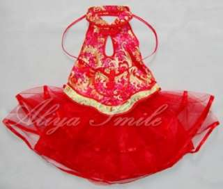 Red Flower Girls Birthday Party Dance Dress SZ 2T 4T 6T