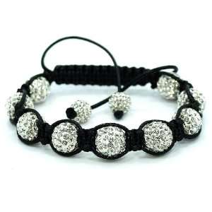 High Quality White Swarovski Crystal Bead Adjustable Shamballa style