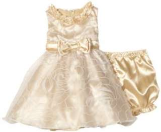 Nannette Baby girls Infant Satin Rose Dress Clothing