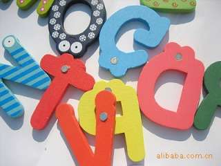 26 A Z Letters Alphabet Wooden Fridge Magnet Baby Kids Education