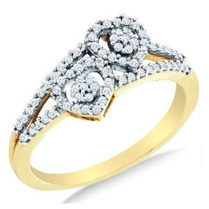 Size 9   10K Yellow and White Two Tone Gold Diamond Two 2 Heart Flower