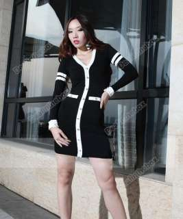 Women V Neck Long Sleeve Party Clubwear Cocktail Slim Dress Fashion