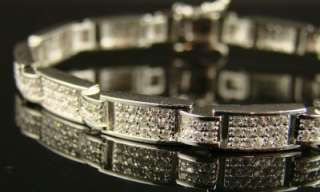 NEW ICY MENS WHITE GOLD FINISH CZ BRACELET