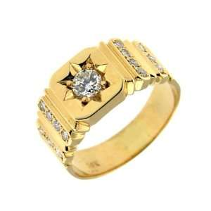 0.81 ct Yellow Gold Diamond Mens Fashion Ring 14 kt Jewelry