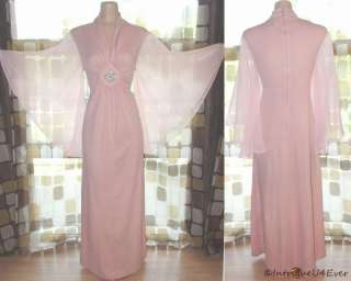 Vintage 70s Sheer Angel Butterfly Sleeve MAXI Dress Full Sweep Goddess