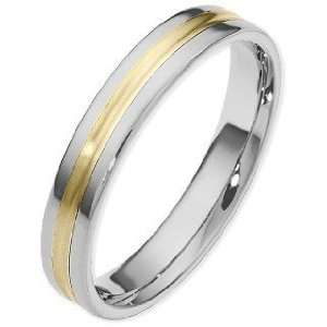Traditional Style 4mm 14 Karat Two Tone Gold Wedding Band
