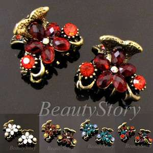 Item  2 antiqued rhinestone crystal flower hair claw clip